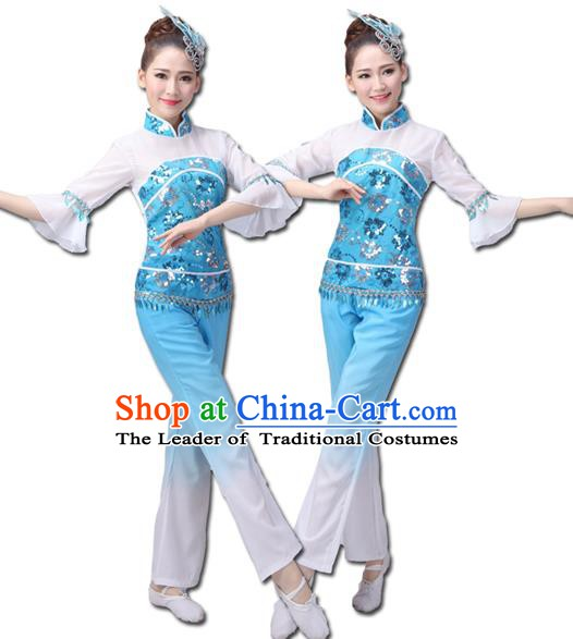 Traditional Chinese Yangge Fan Dance Costume, Folk Dance Yangko Costume Drum Dance Clothing for Women