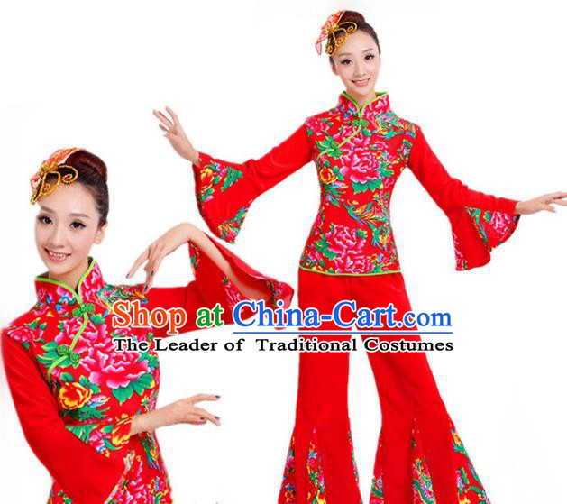 Traditional Chinese Folk Dance Costume, Chinese Yangko Drum Dance Red Clothing for Women