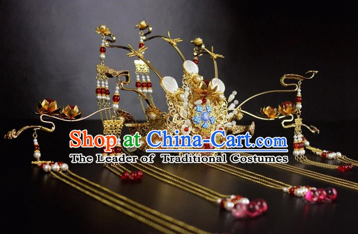 Chinese Ancient Handmade Empress Hair Accessories Tassel Phoenix Coronet Hair Fascinators Hairpins for Women