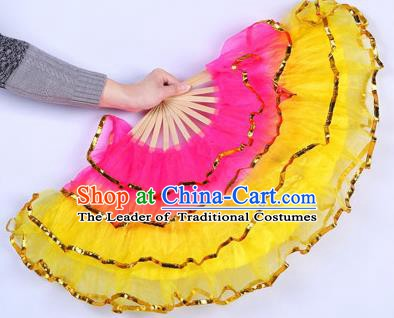 Chinese Folk Dance Props Accessories Stage Performance Yangko Yellow Folding Fans for Women