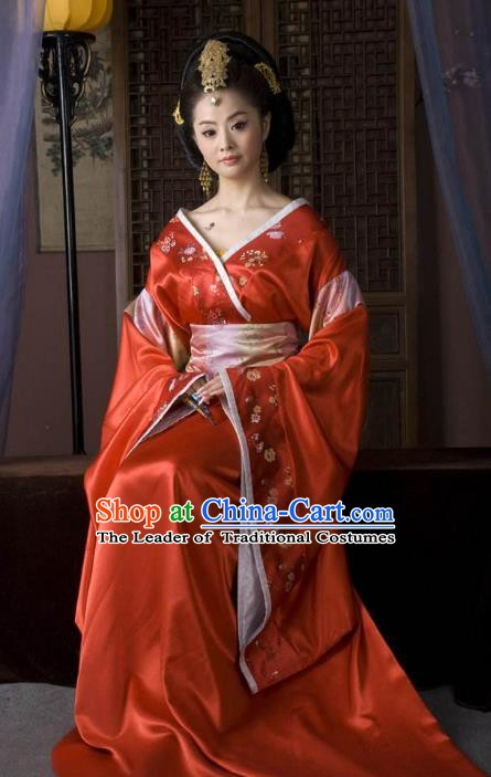 Ancient Traditional Chinese Han Dynasty Imperial Empress Embroidered Hanfu Dress Replica Costume for Women