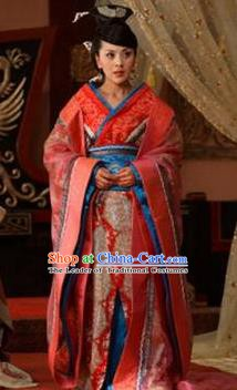 Ancient Traditional Chinese Han Dynasty Imperial Consort Embroidered Hanfu Dress Replica Costume for Women