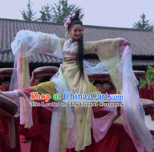 Ancient Traditional Chinese Han Dynasty Empress Zhao Feiyan Dance Hanfu Dress Replica Costume for Women