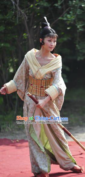 Ancient Chinese Han Dynasty Court Maid Hanfu Dress Replica Costume for Women