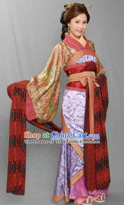 Chinese Ancient Three Kingdoms Period Imperial Consort Mi of Liu Bei Hanfu Dress Replica Costume for Women