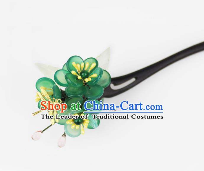 Chinese Ancient Handmade Hair Accessories Classical Ebony Hairpins Hanfu Green Flowers Hair Clip for Women