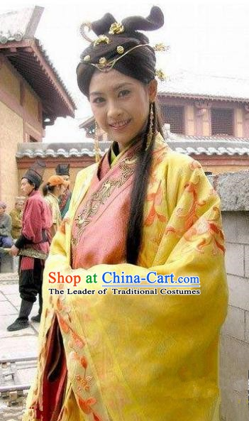Chinese Ancient Han Dynasty Palace Lady Imperial Concubine Embroidered Hanfu Dress Replica Costume for Women