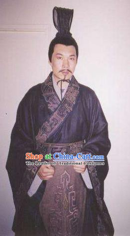 Traditional Chinese Ancient Han Dynasty Chancellor Minister Zhi Buyi Replica Costume for Men