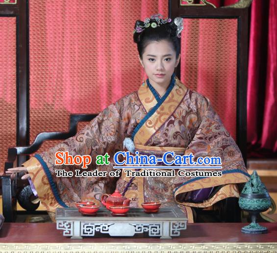 Chinese Ancient Warring States Period Wei Kingdom Princess Consort Hanfu Dress Replica Costume for Women