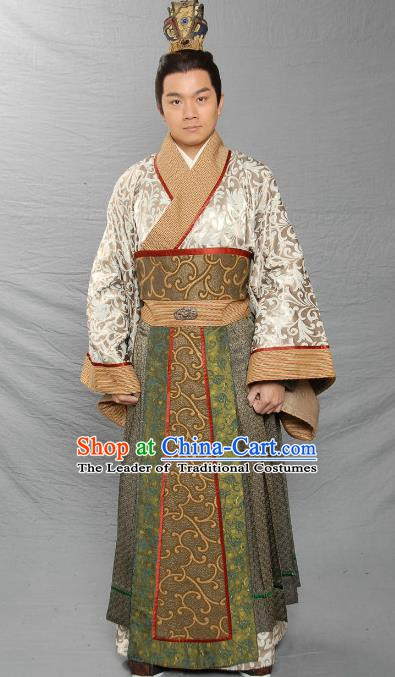 Chinese Ancient Eastern Han Dynasty Swordsman Feudal Lord Liu Qi Replica Costume for Men