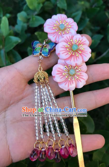 Chinese Ancient Handmade Hair Accessories Pink Flowers Tassel Step Shake Classical Hanfu Hairpins for Women