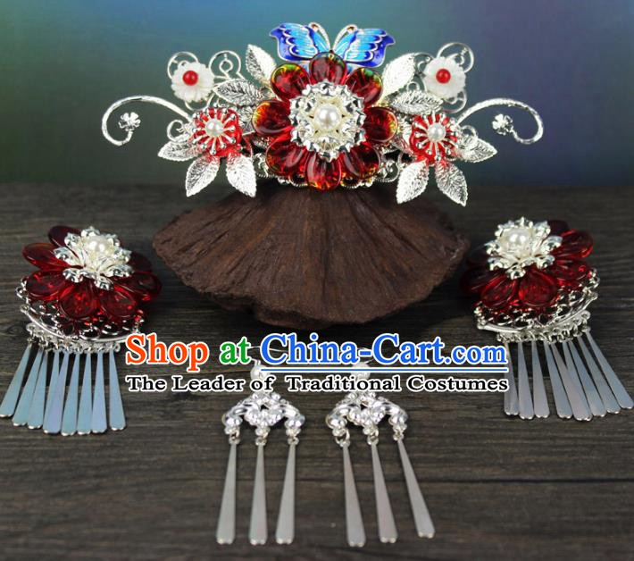 Chinese Ancient Handmade Hair Accessories Phoenix Coronet Hair Clip Classical Hanfu Hairpins Complete Set for Women