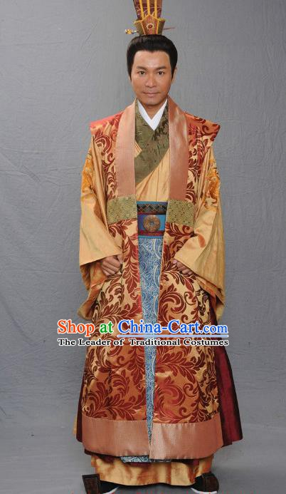 Chinese Ancient Warring States Period Qi Kingdom King Monarch Tian Pijiang Replica Costume for Men