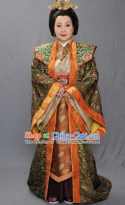 Ancient Chinese Warring States Period Empress Dowager Shen of Qi State Hanfu Dress Replica Costume for Women