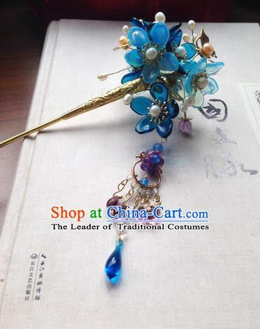Chinese Ancient Hanfu Tassel Handmade Hairpins Hair Accessories Blue Flowers Step Shake for Women