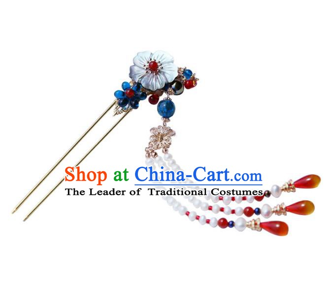 Chinese Ancient Handmade Hanfu Bead Tassel Step Shake Hairpins Hair Accessories for Women