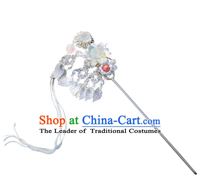 Chinese Ancient Handmade Hanfu Leaf Hairpins Palace Lady Step Shake Hair Accessories for Women