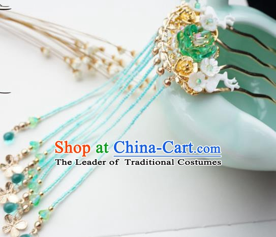Chinese Ancient Handmade Hanfu Tassel Hair Comb Hairpins Step Shake Hair Accessories for Women