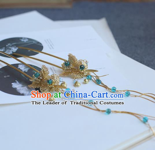 Chinese Ancient Handmade Hanfu Classical Hairpins Step Shake Palace Lady Hair Accessories for Women