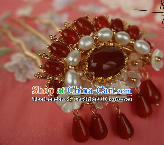Chinese Ancient Handmade Tassel Step Shake Hanfu Red Crystal Hairpins Hair Accessories for Women