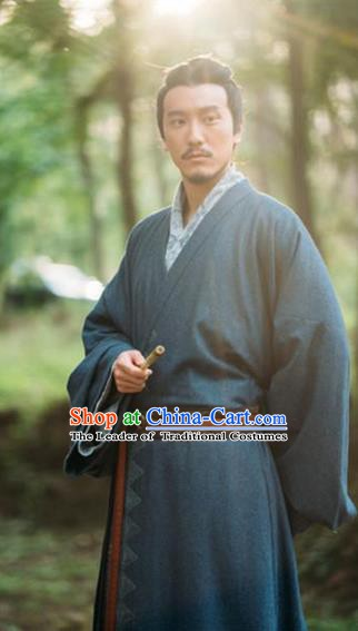 Chinese Ancient Eastern Han Dynasty Military Counsellor Guo Jia Historical Costume for Men