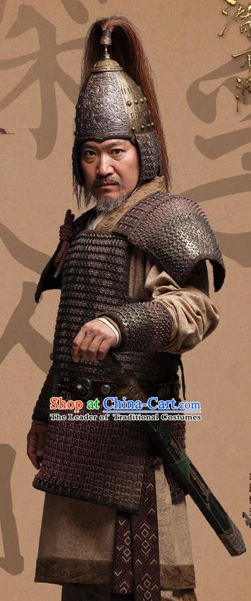 Chinese Ancient Eastern Han Dynasty Warlord Yuan Shao Historical Costume for Men