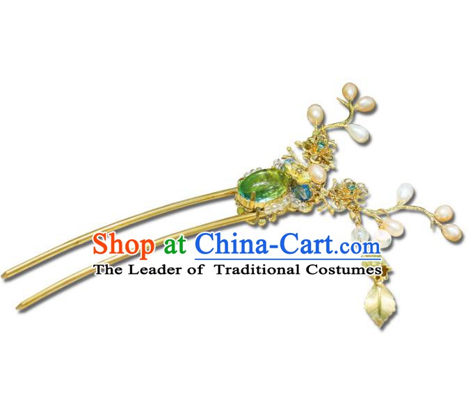 Chinese Ancient Handmade Hanfu Pearls Hairpins Palace Lady Hair Clip Hair Accessories for Women