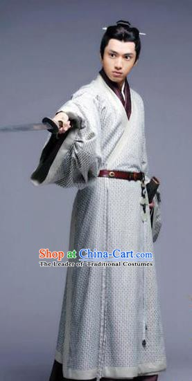 Ancient Chinese Eastern Han Dynasty Nobility Childe Swordsman Shen Rong Historical Costume for Men