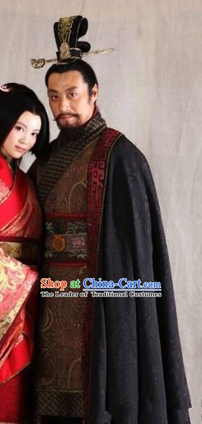 Traditional Chinese Ancient King of Western Chu State Xiang Yu Historical Costume for Men