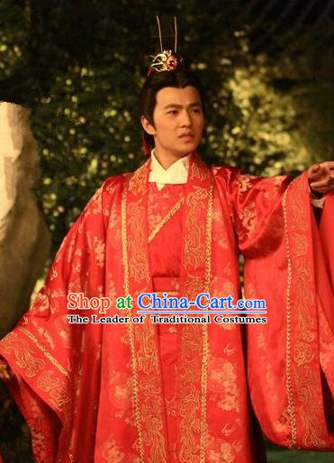 Chinese Ancient Three Kingdoms Period Wei State Crown Prince Cao Pi Wedding Historical Costume for Men