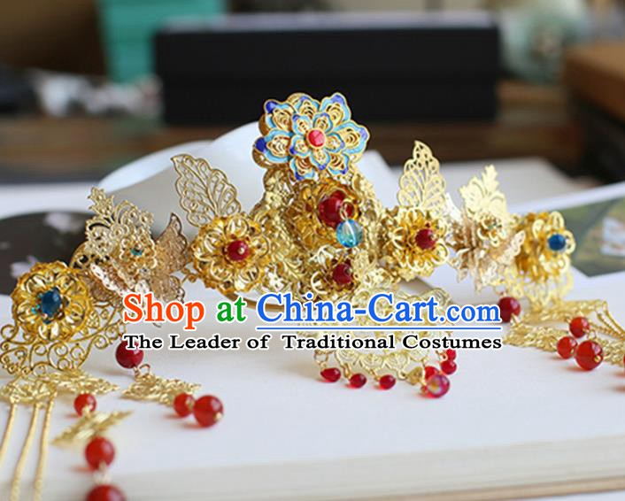 Chinese Ancient Hanfu Handmade Hairpins Tassel Phoenix Coronet Hair Accessories for Women