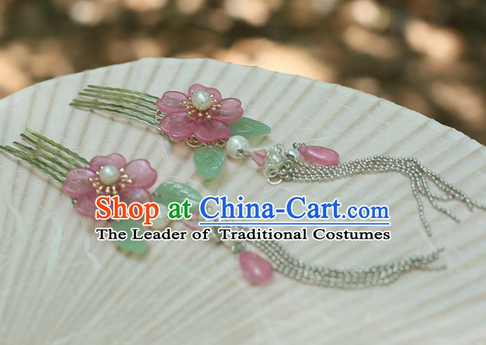 Chinese Ancient Hanfu Handmade Tassel Hairpins Hair Combs Step Shake Hair Accessories for Women