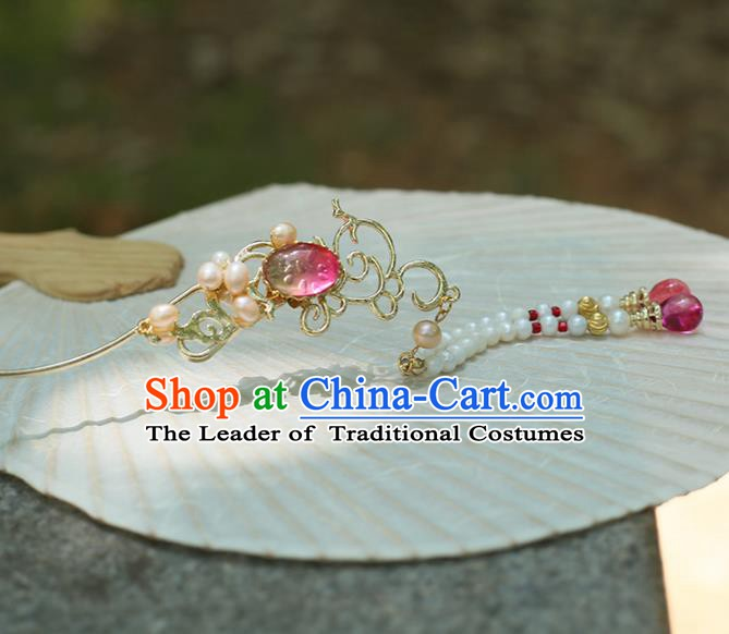 Chinese Ancient Hanfu Handmade Hairpins Pearls Tassel Hair Clip Hair Accessories for Women