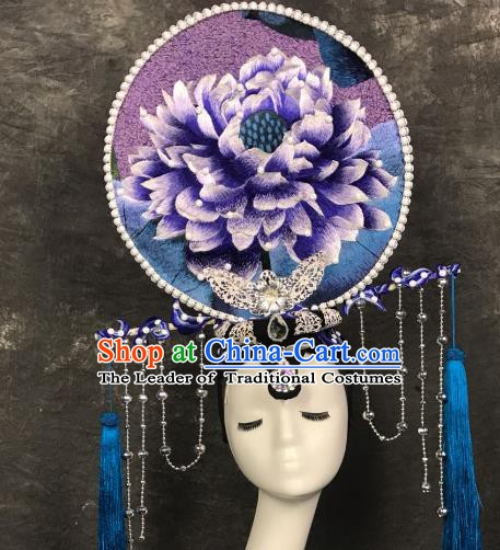 Top Grade China Style Deluxe Hair Accessories Embroidered Headdress Halloween Stage Performance Headwear for Women