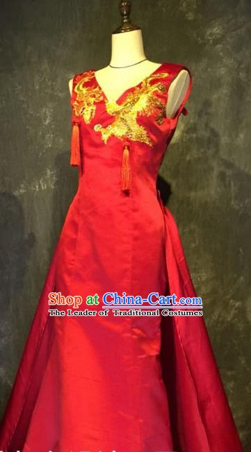 Top Grade Stage Performance Catwalks Embroidered Costume Wedding Red Full Dress Clothing for Women