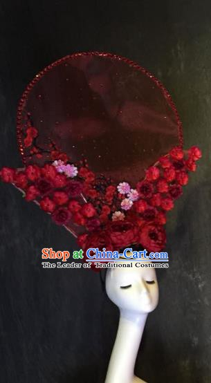 Top Grade China Ancient Red Flowers Hair Accessories Palace Hair Crown Stage Performance Headdress for Women