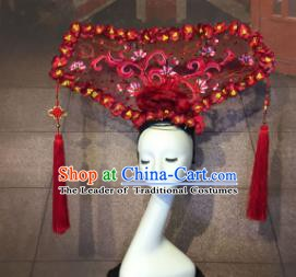 Top Grade China Catwalks Hair Accessories Qing Dynasty Red Headwear Stage Performance Headdress for Women