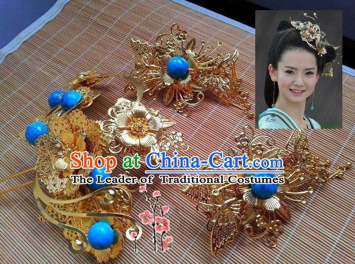 Traditional Chinese Ancient Hair Accessories Hairpins Hair Stick Complete Set for Women