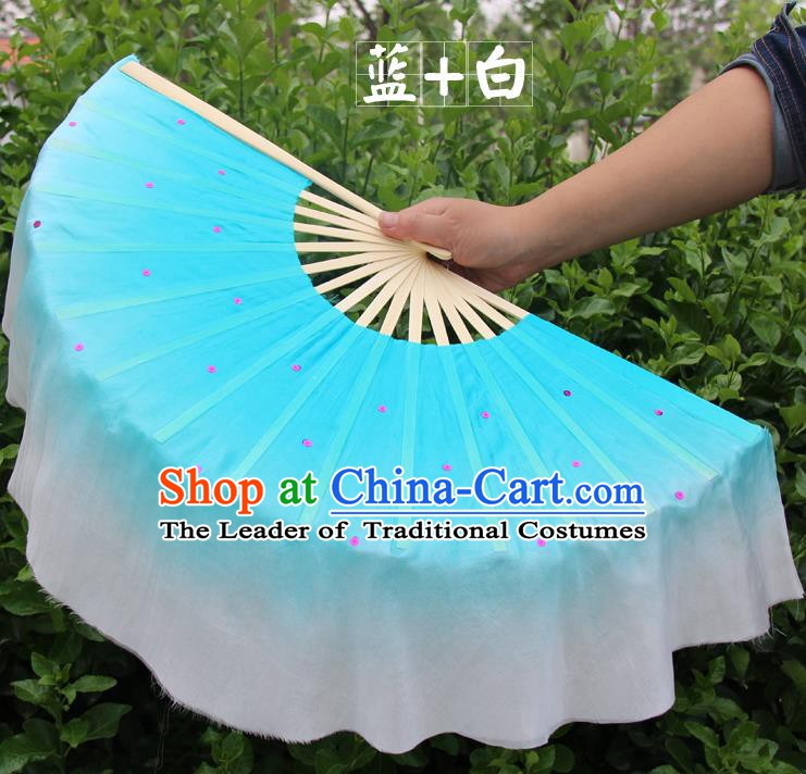 Top Grade Chinese Folk Dance Folding Fans Dance Fans Yangko Blue and White Silk Fans for Women