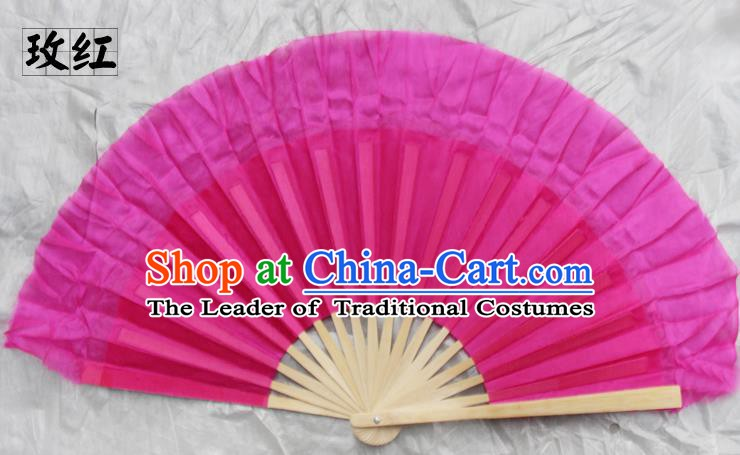 Top Grade Chinese Folk Dance Folding Fans Yangko Dance Rosy Silk Fan for Women
