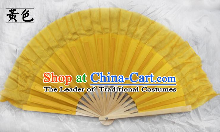 Top Grade Chinese Folk Dance Folding Fans Yangko Dance Yellow Silk Fan for Women