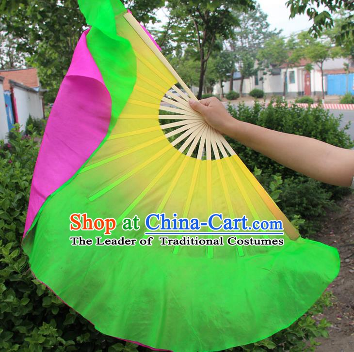 Top Grade Chinese Folk Dance Folding Fans Yangko Dance Double Side Silk Fan for Women