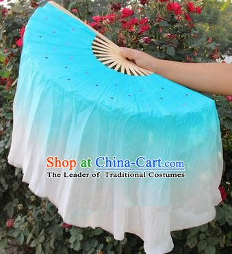 Top Grade Chinese Folk Dance Blue Folding Fans Yangko Dance Silk Ribbon Fan for Women