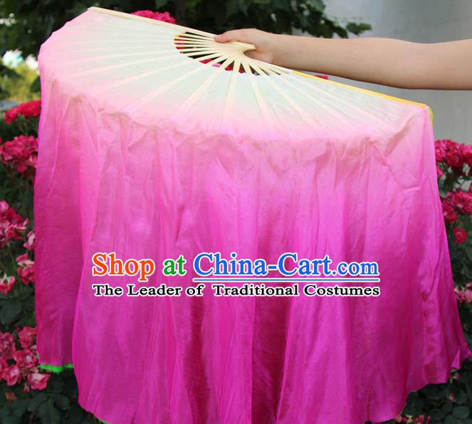 Top Grade Chinese Folk Dance Rosy Folding Fans Yangko Dance Silk Ribbon Fan for Women