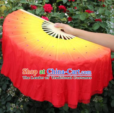Chinese Handmade Folk Dance Folding Fans Yangko Dance Red Silk Ribbon Fan for Women