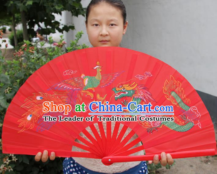 Chinese Handmade Folk Dance Folding Fans Yangko Dance Printing Dragon and Phoenix Tai Chi Red Fan for Women