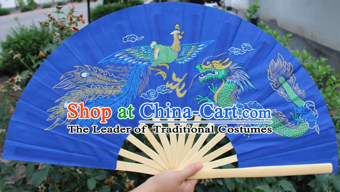 Chinese Handmade Folk Dance Folding Fans Yangko Dance Printing Dragon and Phoenix Tai Chi Blue Fan for Women