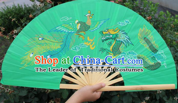 Chinese Handmade Folk Dance Folding Fans Yangko Dance Printing Dragon and Phoenix Tai Chi Green Fan for Women