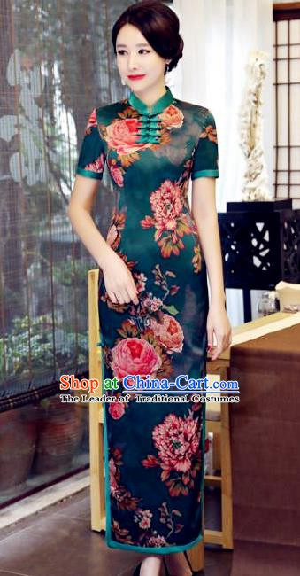 Chinese Traditional Elegant Green Cheongsam National Costume Watered Gauze Qipao Dress for Women