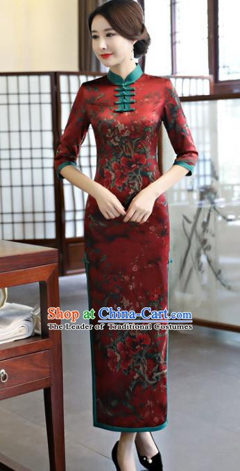 Chinese Traditional Elegant Red Cheongsam National Costume Watered Gauze Qipao Dress for Women